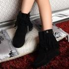 Hidden Wedge Fringed Lace-up Short Boots