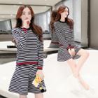 Set: Long-sleeve Striped Knit Top + Striped Knit A-line Skirt