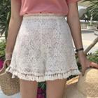 Tasseled Lace Wide Leg Shorts