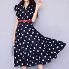 Short-sleeve Dotted A-line Midi Dress