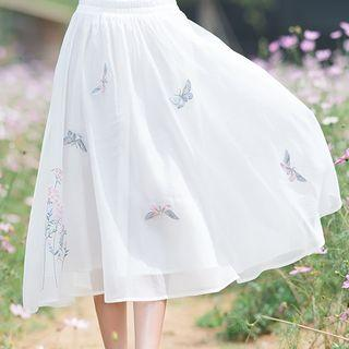 Butterfly Embroidered Midi Skirt