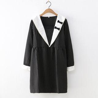 Long-sleeve Collared Striped A-line Dress As Shown In Figure - One Size