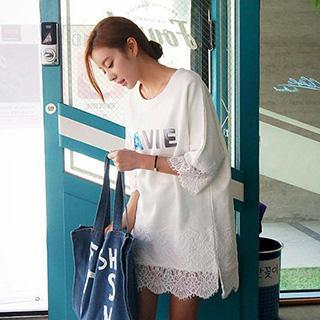 Elbow-sleeve Lace Lettering Shift Dress