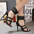 Woven Strap Ankle Strap Heel Sandals