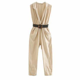 Set: Sleeveless V-neck Jumpsuit + Belt