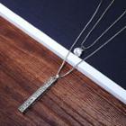 Rhinestone Bar Layer Necklace