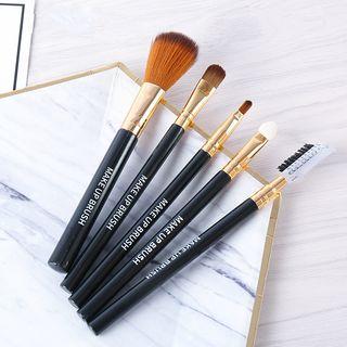 Set Of 5: Makeup Brush (various Designs) Black - One Size