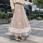 Lace-panel Midi A-line Mesh Skirt