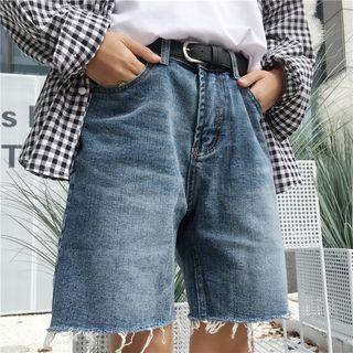 Washed Wide-leg Denim Shorts