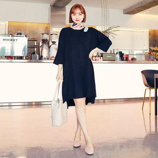 3/4-sleeve Slit-side Knit Dress