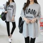 Drop-shoulder Letter Print Long T-shirt