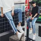Stripe-side Washed Slim-fit Jeans