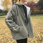 Fleece-lined Loose-fit Hooded Jacket