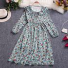 Peter-pan Collar Puff-sleeve Printed Dress
