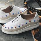 Genuine Leather Studded Oxford Shoes