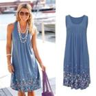Sleeveless Floral Pintuck Dress