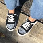 Beaded Faux-suede Sneakers