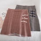 Frog-button Plaid Mini Pencil Skirt