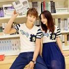 Striped Sleeve Lettering Couple T-shirt