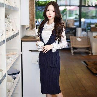V-neck Suspender Knit Skirt