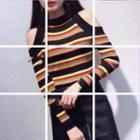 Cold-shoulder Striped Sweater