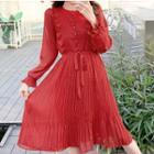Frilled Trim Tie-waist Chiffon Midi Dress