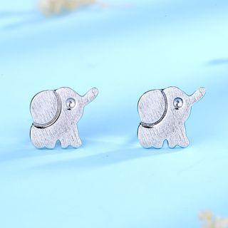 925 Sterling Silver Elephant Earring 1 Pair - 925 Silver - White - One Size