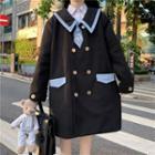 Sailor Collar Double-breasted Coat / Necktie
