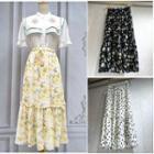 Printed Chiffon Midi Skirt