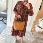 Tie-neck Plaid Shirt Dress