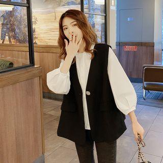 3/4-sleeve Blouse / Button Vest