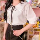 Sailor-collar Beribboned Blouse