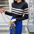 Crewneck Stripe Knit Top