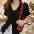 Frilled Trim Beaded Short-sleeve Knit Cardigan