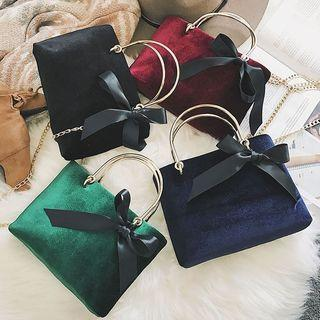 Bow Accent Velvet Handbag