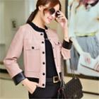 Faux Leather Buttoned Jacket