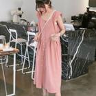 Buttoned Plain Sleeveless Midi Dress