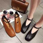 Strapped Square Toe Flats