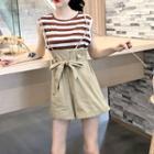 Striped Tank Top / Spaghetti Strap Wide-leg Shorts