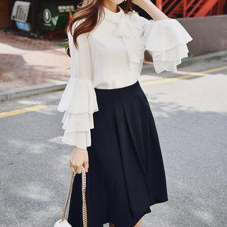 Bow Accent Bell-sleeve Top