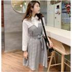 Mock Two Piece Long-sleeve A-line Dress Gray - One Size