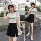 Plain High-waist Slit Mini A-line Skirt