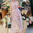 Floral Halter Chiffon Maxi Dress