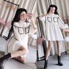Long-sleeve Contrast Trim Mini Shirtdress White - One Size