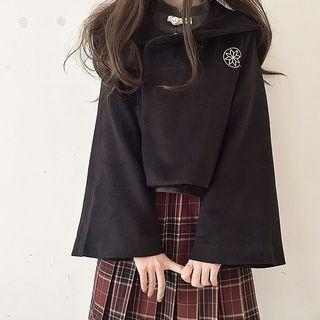 Embroidered Wide-sleeve Snap Button Jacket