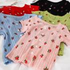 Floral Short-sleeve Pointelle Knit Top