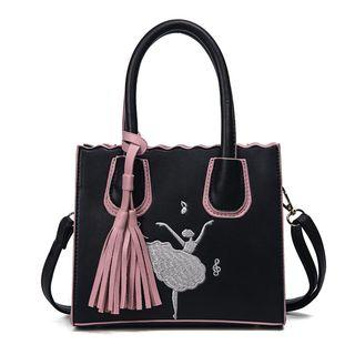 Embroidered Tote With Shoulder Strap