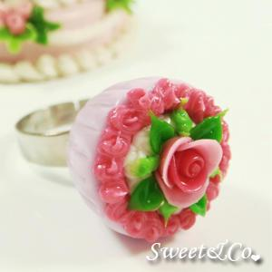 Sweet Pink Rose Violet Mini Cupcake Silver Ring