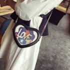 Faux-leather Heart Cross Bag