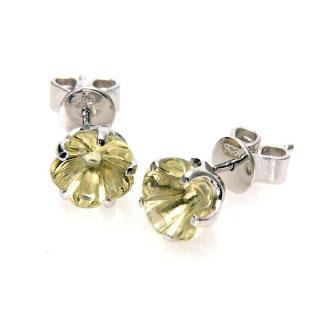 Flower Blossom Lemon Quartz Stud Earrings